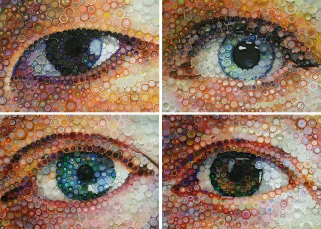 plastik şişe kapakları ile yapılan mozaik tablolar